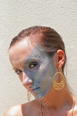 Model Blue Makeup