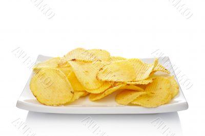 Potato chips on a dish