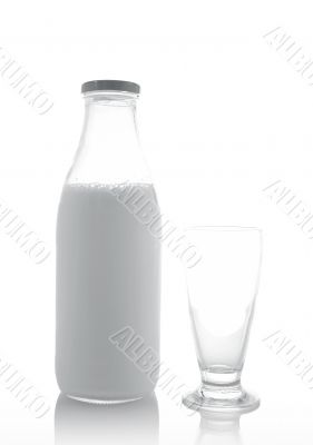 Glass and bottle of fresh milk