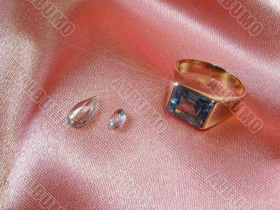 Aquamarine ring and gems
