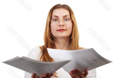 Girl with papers
