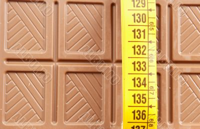 Chocolate bar and tape measure