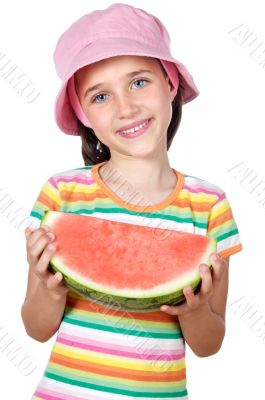 adorable girl eating watermelon