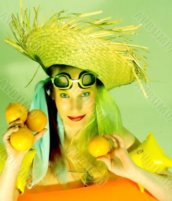 crazy woman with oranges