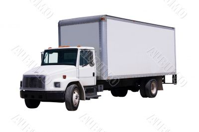 White Delivery Truck isolaated