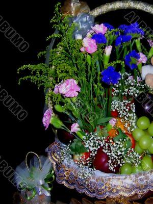wedding gift flowery fruitbasket