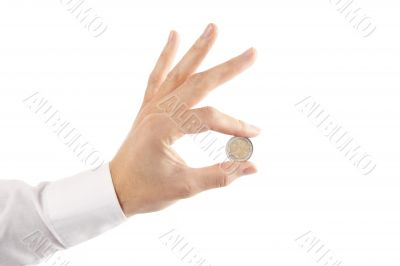 holding coin