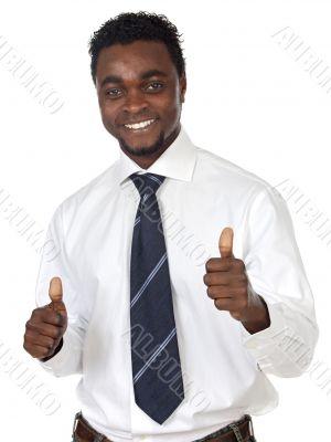 attractive businessman celebrating a triumph