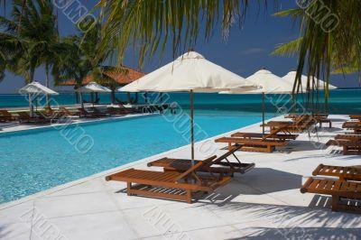 tropical pool at waterfront
