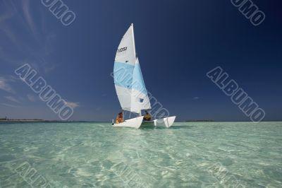 catamaran in the lagoon