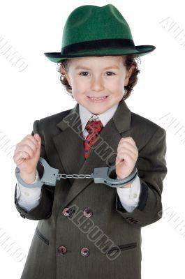 adorable boy dressed gangster