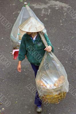 vietnamese walking bread trader