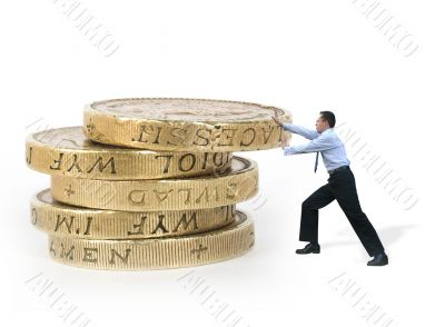 business man pushing coins - power