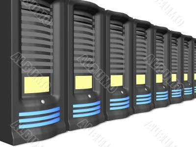 business servers in a line