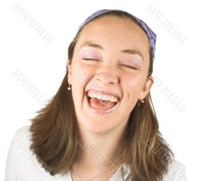 casual girl can`t stop laughing