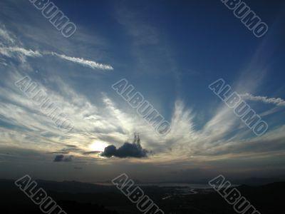 Blue sky cloud and sun