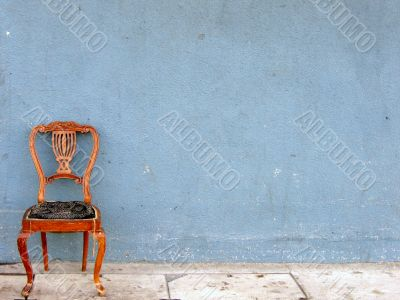 Wooden chair alone
