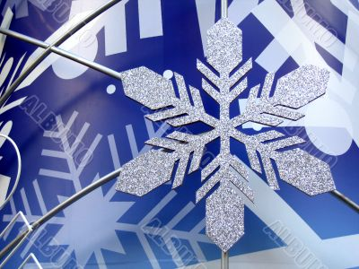 Snowflake in blue background