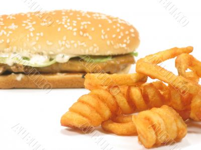 Twister fries and grilled chicken burger