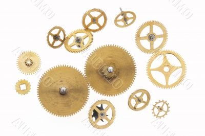 many old gold-coloured cogwheels