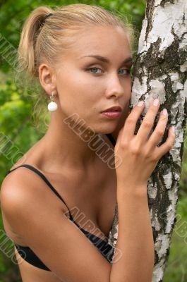 pretty blonde girl outdoor