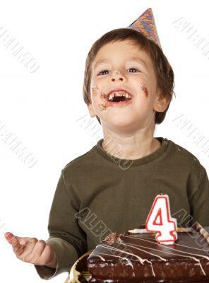 adorable kid celebrating his birthday