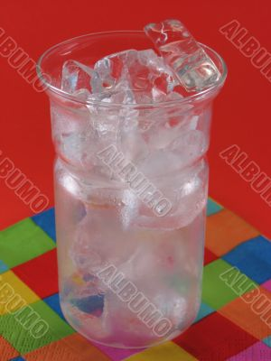 Ice in a drink glass