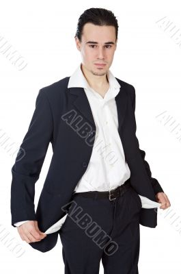 young businessman in the ruin