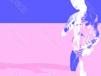 woman on pink and blue