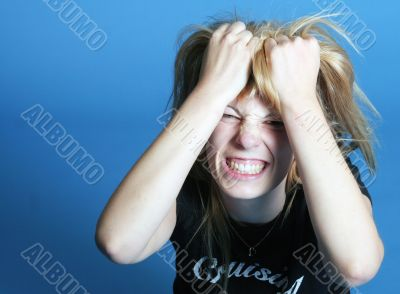 young woman has stress