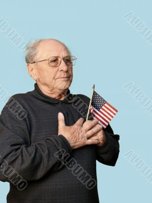 Senior man with american flag
