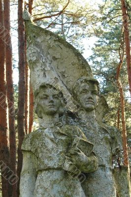 Remains of soviet sculpture of pioneers