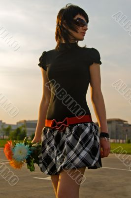 young woman in trendy dress