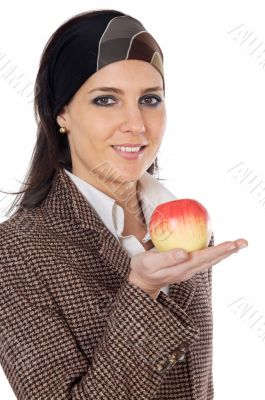 attractive girl with apple in the hand
