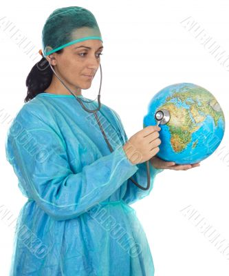 doctor examining the planet earth