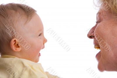 baby and granny smiling