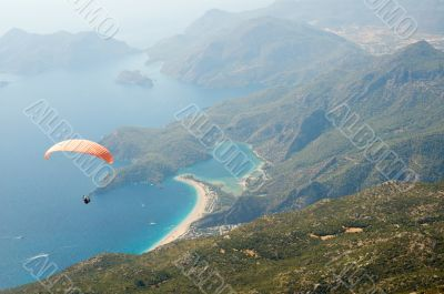 Parachuting over seascape