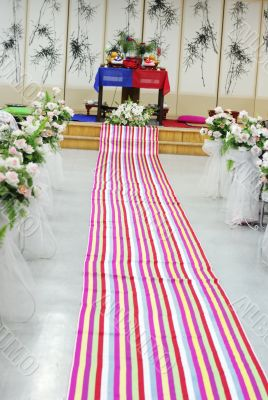 Traditional South Korean wedding setting.
