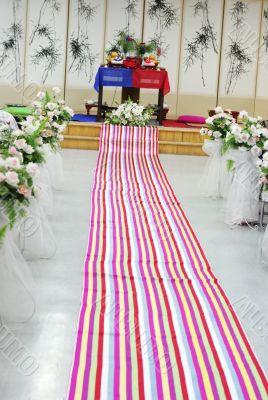 Traditional South Korean wedding setting.