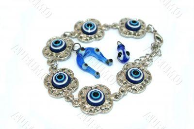 Bracelet,horse-shoe and drop medallions