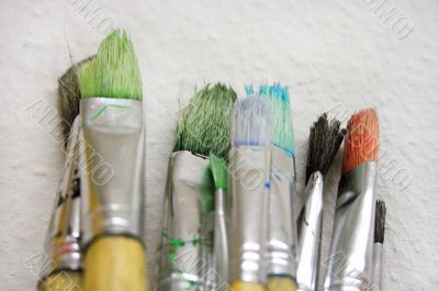 Bunch of Paint Brushes - Close View