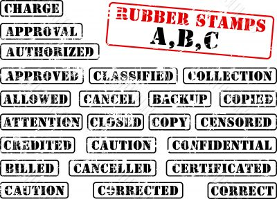 Collection of rubber stamps abc