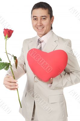 Attractive young man giving a love gift