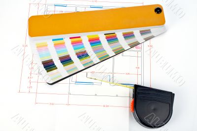 Color guide and measuring tape