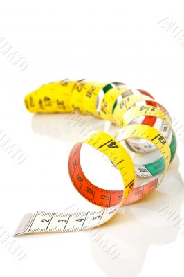 Curled measuring tape