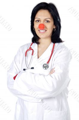 Attractive lady doctor with a red nose