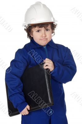 Adorable future builder gotten upset with folder