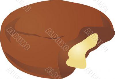 Cream filled chocolate donut,