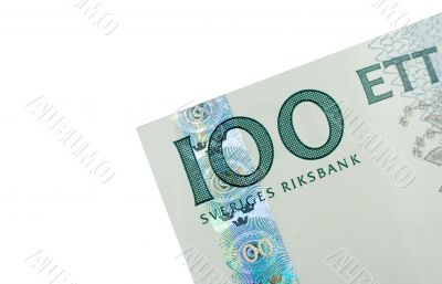 Corner of One Hundred Swedish Kronor banknote