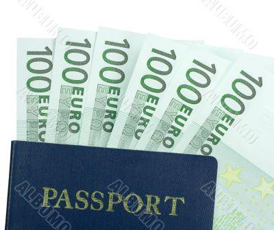 Passport and One Hundred Euro Bills
